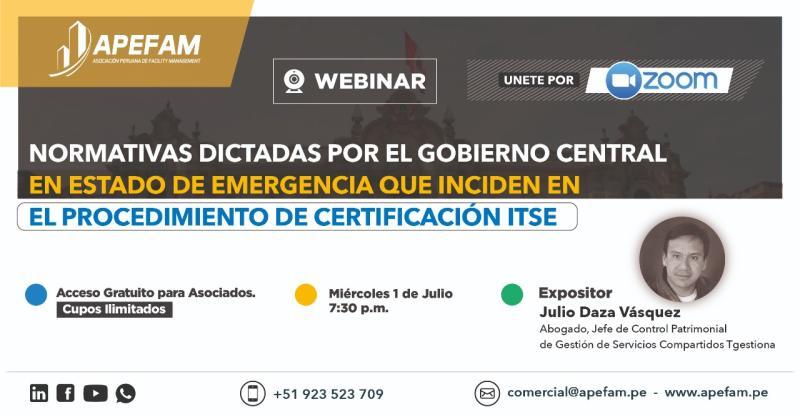 Normativas dictadas por el Gobierno Central en estado de emergencia que inciden en el procedimiento de certificación ITSE